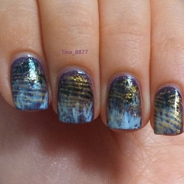 """Stainy"" Gradient With Gold Accent nail art by Tina_8877"
