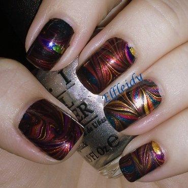 #watermarblepracticewed- swirls nail art by Jenette Maitland-Tomblin