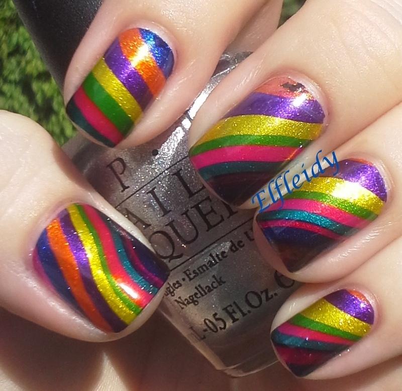 #watermarblepracticewed- diagonal stripes nail art by Jenette Maitland-Tomblin