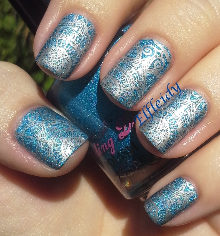 Blue and silver nail art by Jenette Maitland-Tomblin