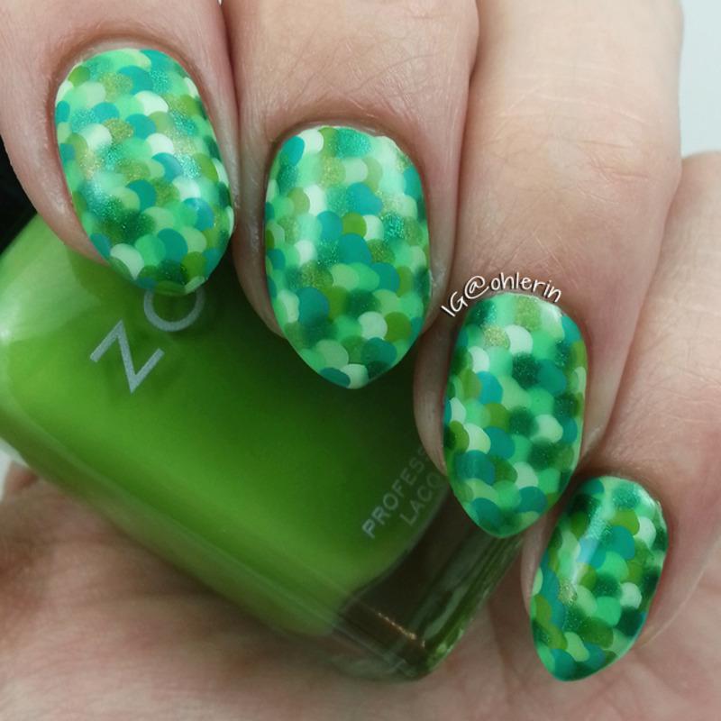 Green dots nail art by Lindsay