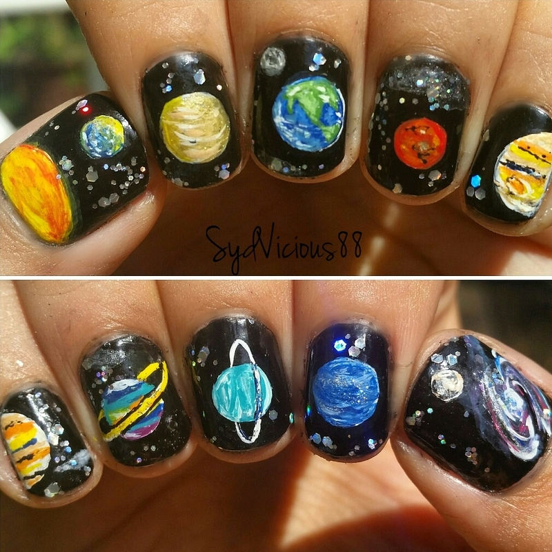 Planets nail art by SydVicious