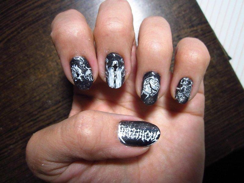 Death Metal Nail Art - Timeghoul - Death Metal Nail Art - Timeghoul Nail Art By Rainwound - Nailpolis
