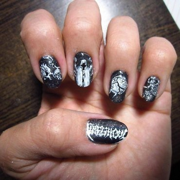 Death Metal Nail Art - Timeghoul nail art by Rainwound