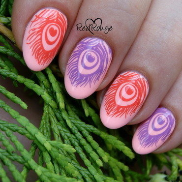 Peacock feather nail art by RedRouge
