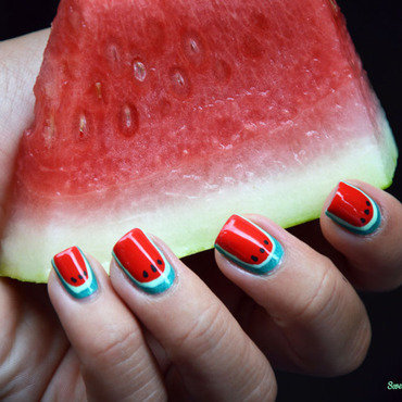 Watermelon nails nail art by Sweapee