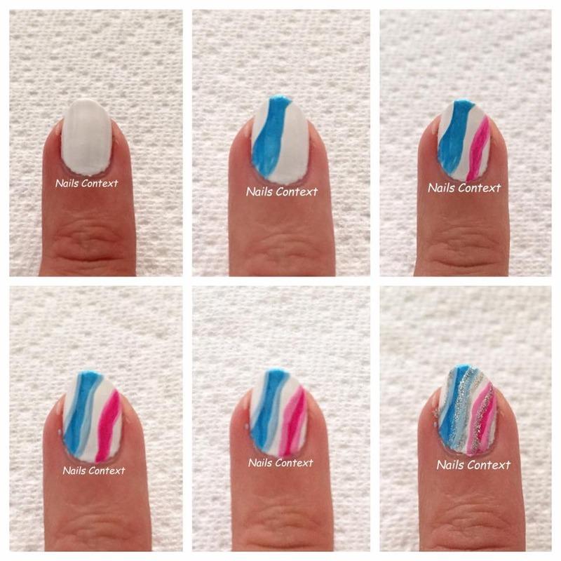 Pink and Blue nails tutorial nail art by NailsContext