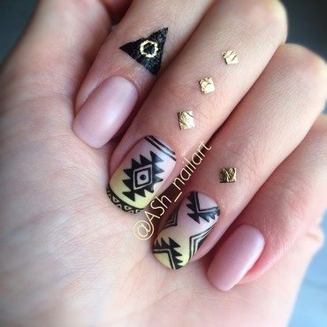 Tribal print nail art by Anna Sh