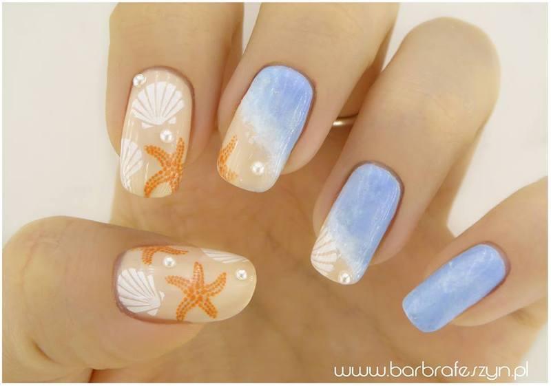 Sea nails nail art by barbrafeszyn