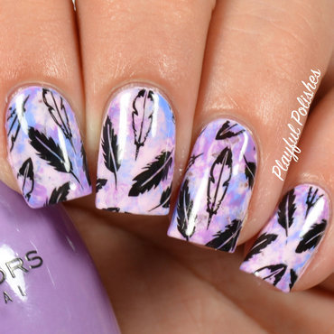 Multicolored Feather Nail Art nail art by Playful Polishes