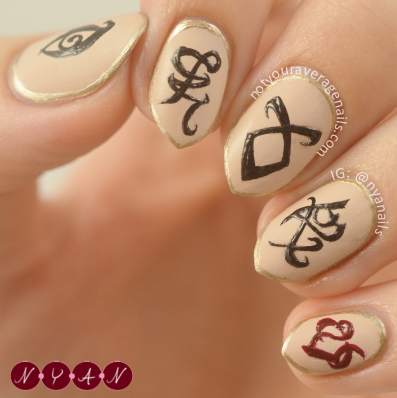 The Mortal Instruments nail art by Becca (nyanails)