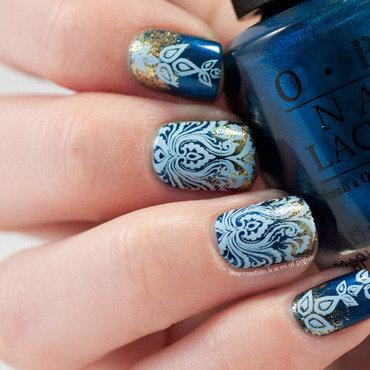Blue damask stamping nail art by Zara TracesOfPolish