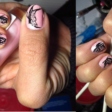 Freehand Butterfly Mani nail art by Rainwound