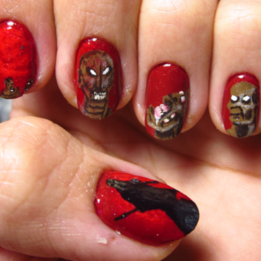 "Death Metal Nail Art: Demilich - ""Nespithe"" nail art by Rainwound"