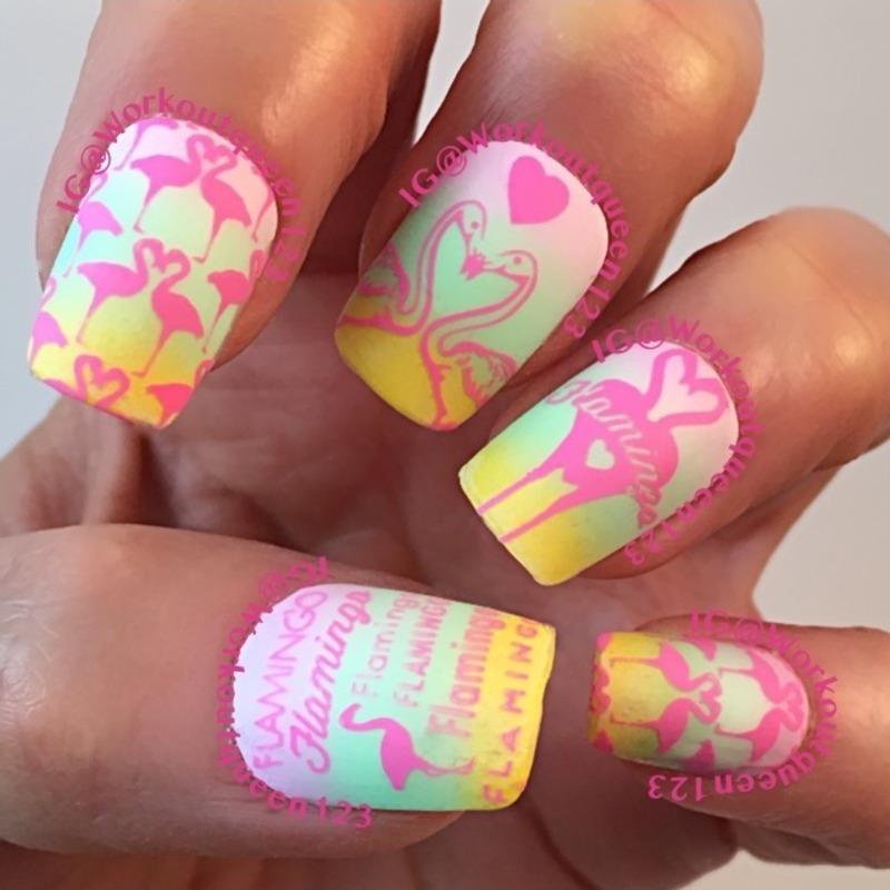 Flamingos mani nail art by Workoutqueen123