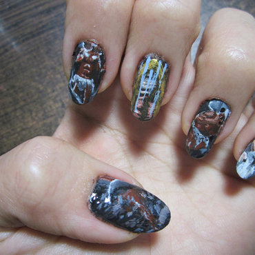 "Death Metal Nail Art: Immolation - ""Here in After"" nail art by Rainwound"