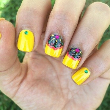 Fiesta flowers nail art by Ashley