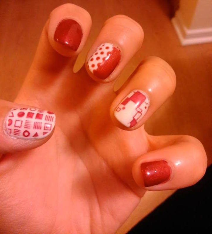Red and white nail art by Ro Ags