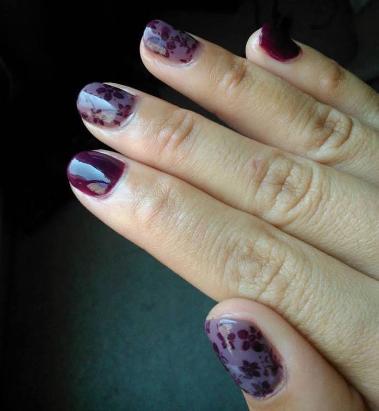 Nature in wine nail art by Ro Ags