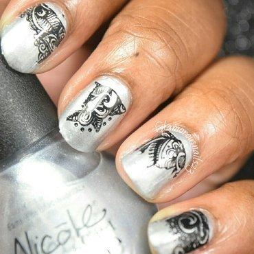 Silver & Black - Stamping Saturdays #2 nail art by glamorousnails23