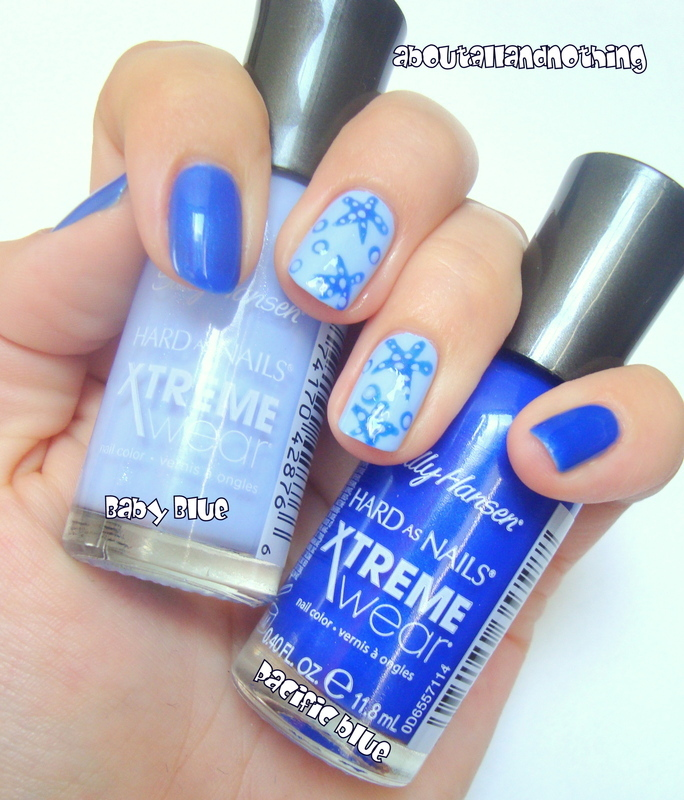 Blue starfishes nail art by Kasia