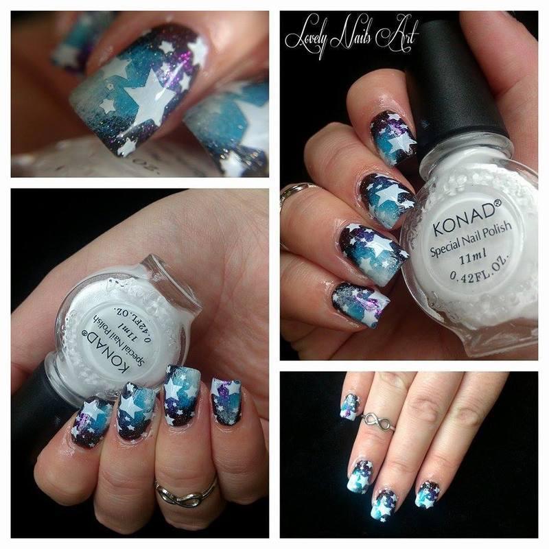 nail art stamping galaxy étoile nail art by Lovely Nail's  Art