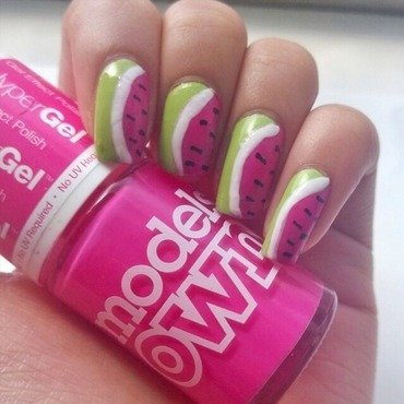 Watermelon nails🍉 nail art by Jaimini Solanki