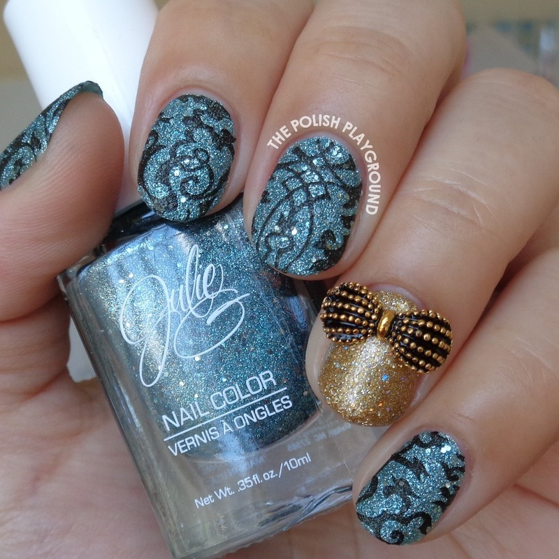 Blue Texture and Black Stamping with Gold Accent nail art by Lisa N