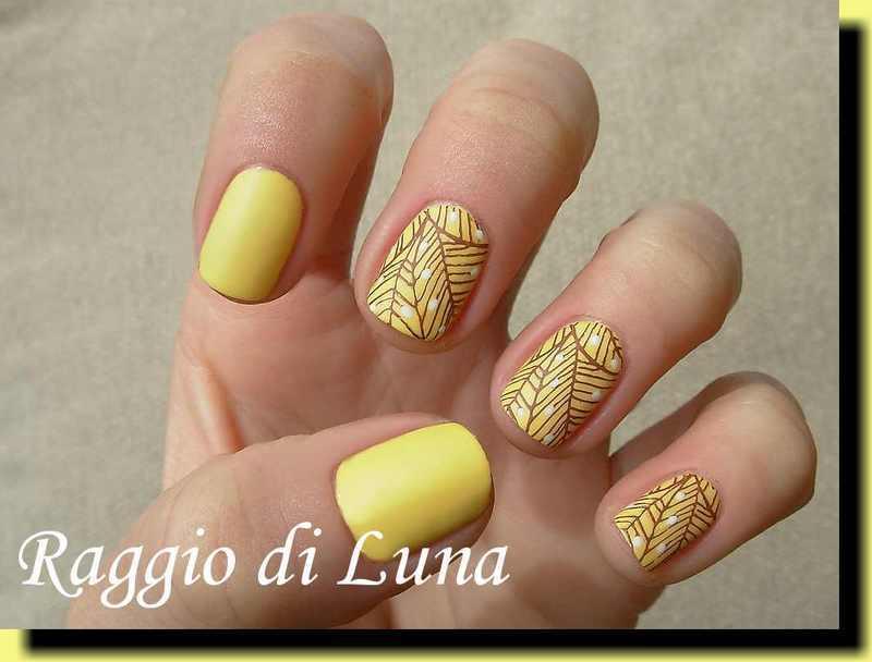 Stamping: Brown leaf pattern on yellow nail art by Tanja
