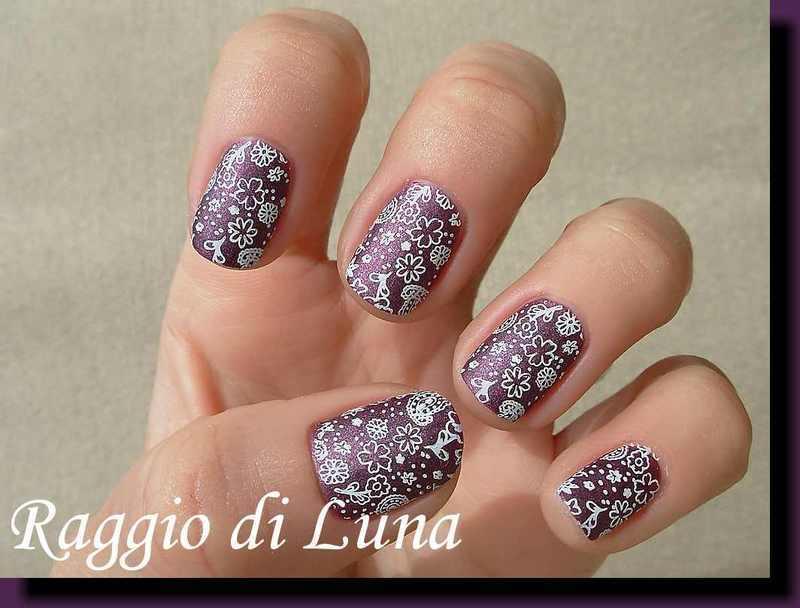 Stamping: White floral on matte dark purple nail art by Tanja