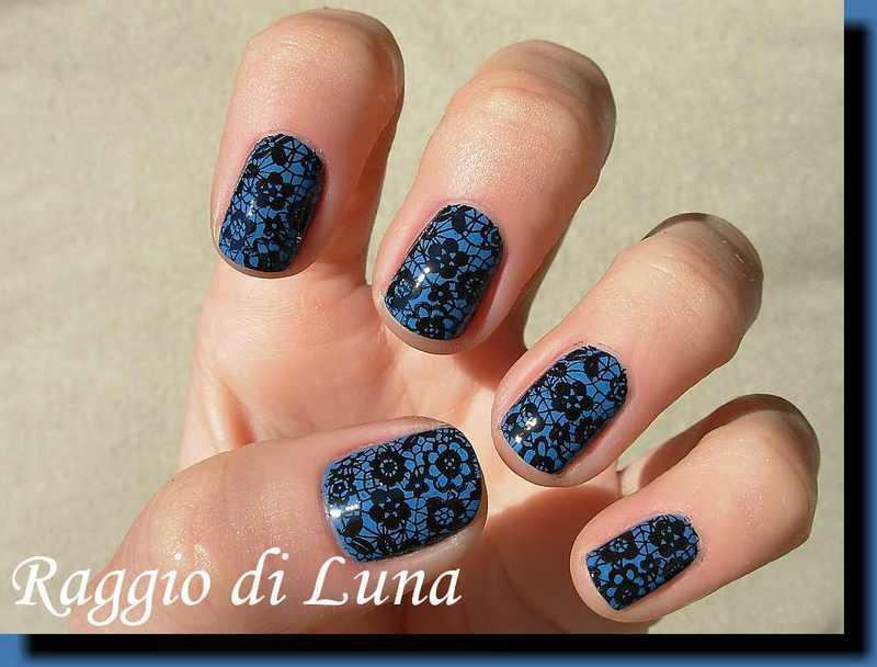 Stamping: Black rose lace pattern on blue nail art by Tanja