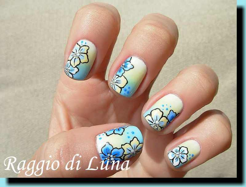 Flowers on white & yellow & blue gradient nail art by Tanja