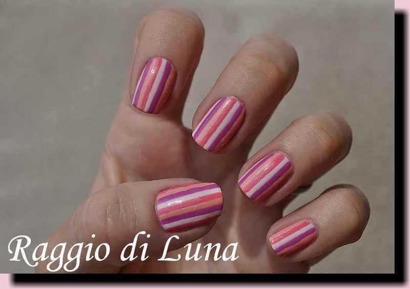 Summer stripes manicure nail art by Tanja