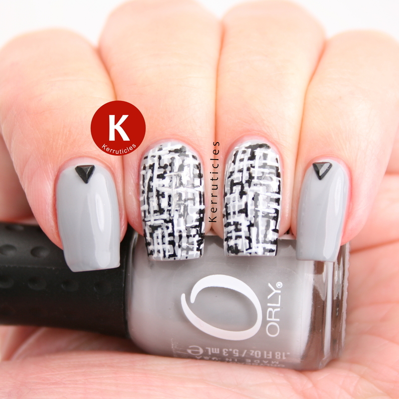 Grey, black and white tweed nails nail art by Claire Kerr