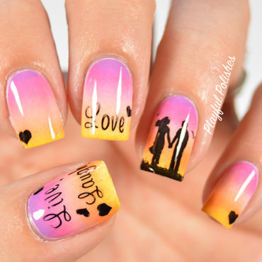 """Love"" Sunset Nails nail art by Playful Polishes"