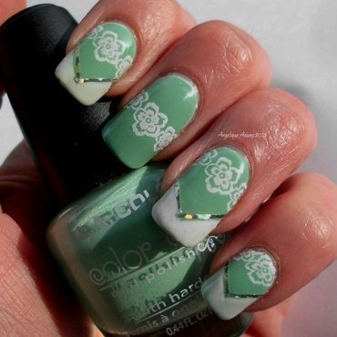 Mint with White tips nail art by Angelique Adams