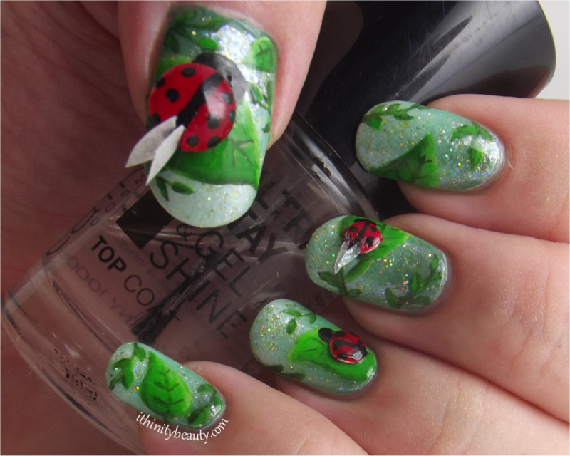 3D Ladybirds With Freehand Leaves and DIY Wings nail art by Ithfifi Williams