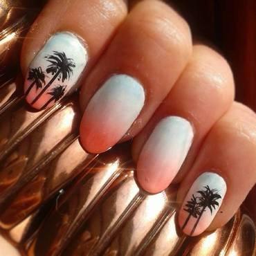 Miami palms nail art by Km.Lucy