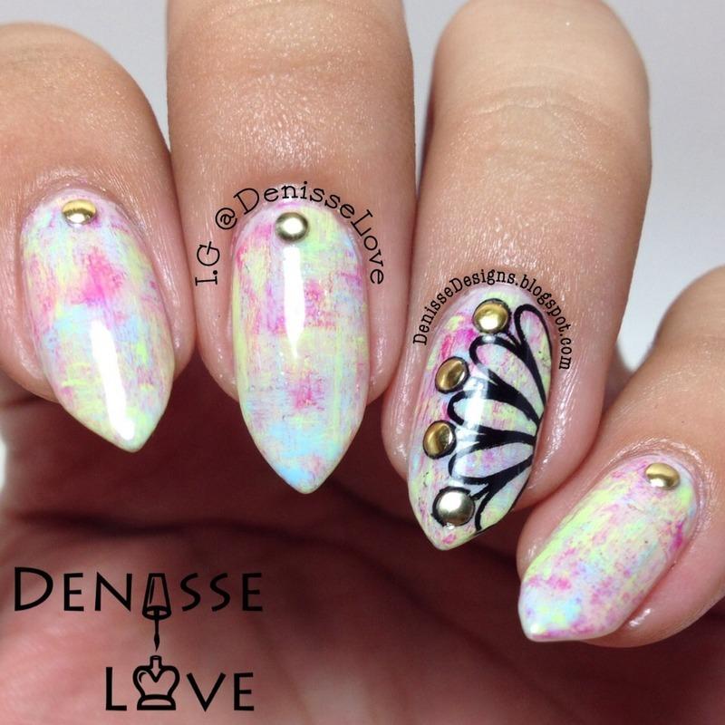 Tie Dye Flower nail art by Denisse Love
