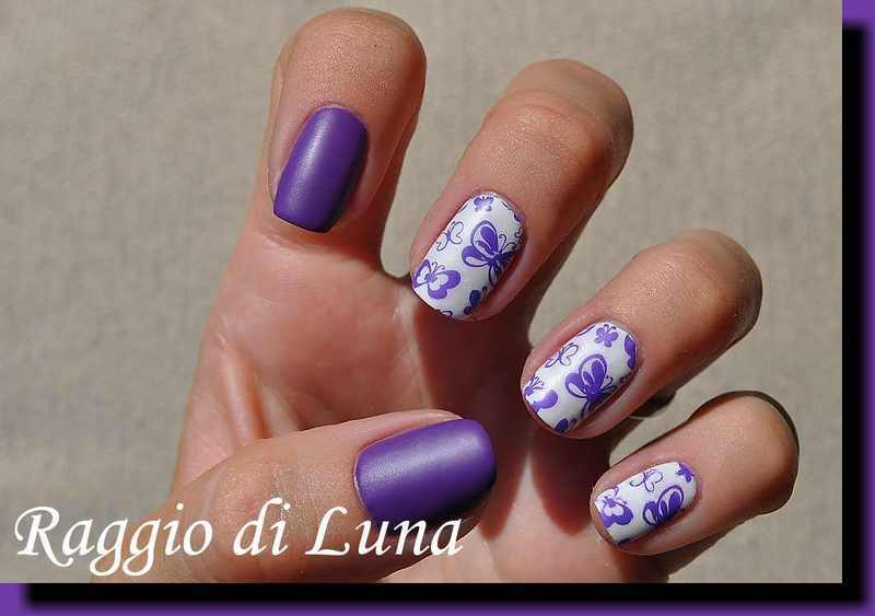 Stamping: Purple butterflies nail art by Tanja
