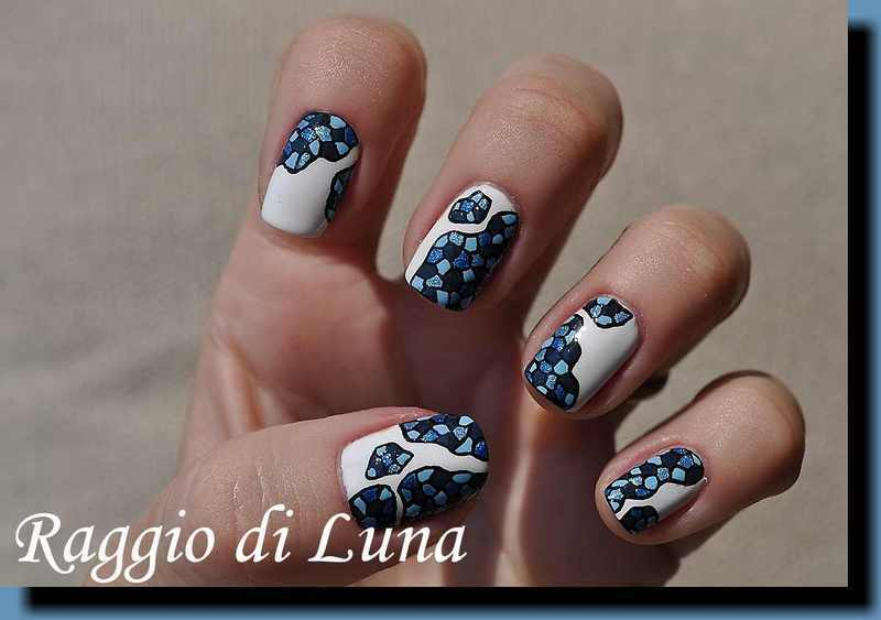 Blue tiles mosaic nail art by Tanja