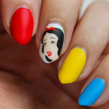 Snow White nail art by Lisa Yabsley