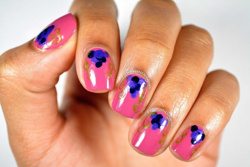 Grape Vines nail art by Fatimah