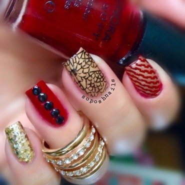 Red and Gold Skittlette nail art by Debbie