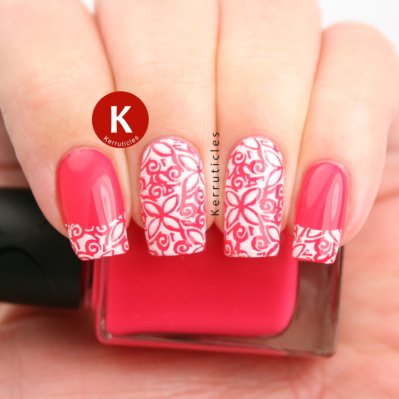 Pink and white stamped floral tips nail art by Claire Kerr