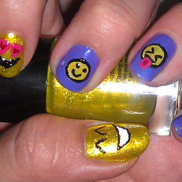 Emoji's nail art by Cecilia Brown