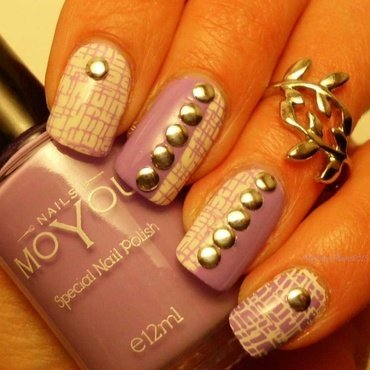 Lilac and White  nail art by Angelique Adams