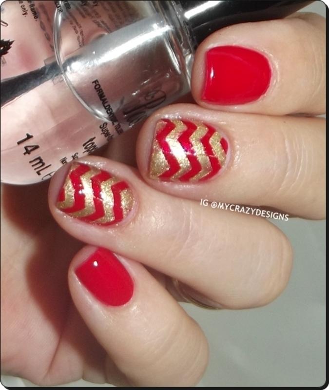 Zig zag design nail art by Mycrazydesigns