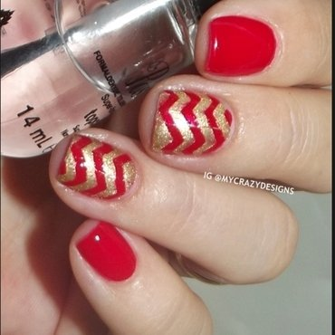 Zig zag design nail art by Mycrazydesigns