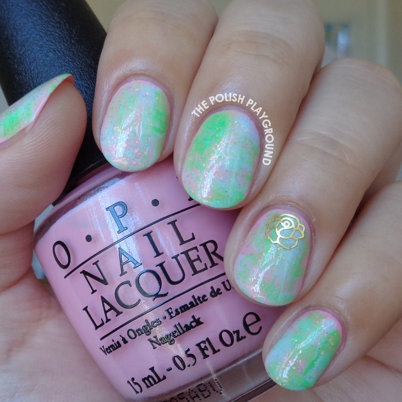 Distressed Pastels with Gold Rose Decoration nail art by Lisa N